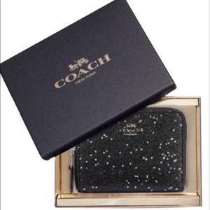 Authentic COACH Black Glitter STARS Zip Wallet!